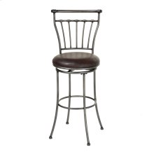 Topeka Metal Counter Stool with Coffee Upholstered Swivel-Seat and Striated Silver Frame Finish, 26-Inch