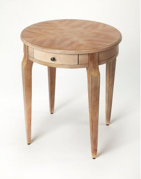 This casually elegant side table features a stylish Driftwood finish. Crafted from select hardwood solids and oak veneer, this versatile side table can be used in any room of the house. Includes a single working drawer with antique brass finished knob.