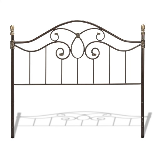Dynasty Metal Headboard Panel with Camelback Arch and Soft Gold Highlighted Castings, Autumn Brown Finish, King