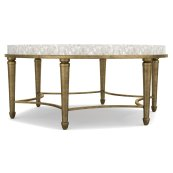 Living Room Aura Round Cocktail Table w/ Shell Top