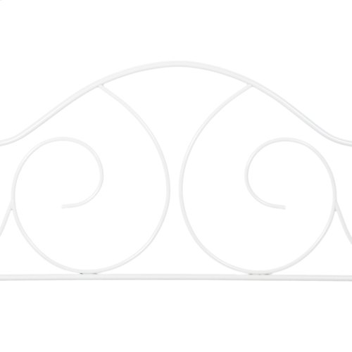 Caroline Complete Metal Daybed with Sloping Back Panel and Link Spring, Antique White Finish, Twin