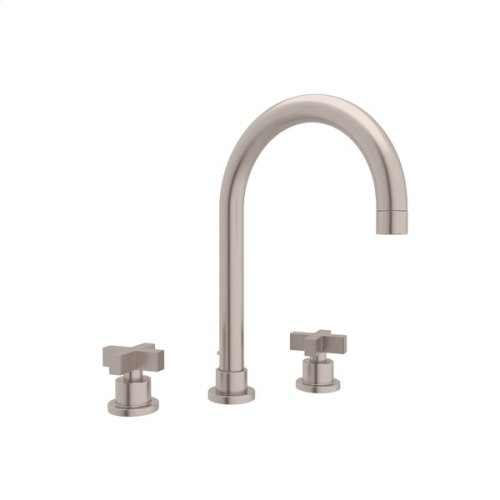 Satin Nickel Pirellone C-Spout Widespread Lavatory Faucet with Cross Handle