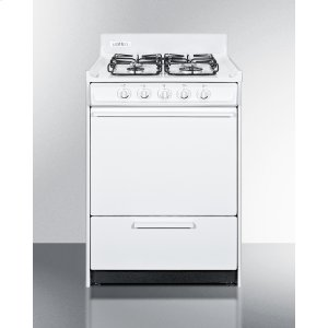 "Summit24"" Wide Gas Range In White With Sealed Burners and Electronic Ignition; Replaces Wnm6107f"