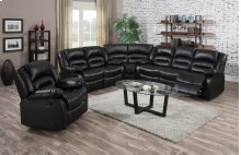 Branson Black Leather Reclining Sectional