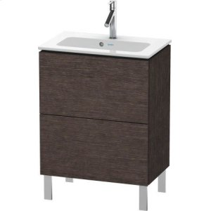 Vanity Unit Floorstanding Compact, Brushed Dark Oak (real Wood Veneer)