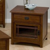 Square End Table W/ Drawer and Door