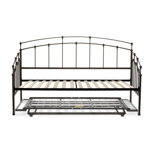 Fenton Complete Metal Daybed with Euro Top Spring Support Frame and Pop-Up Trundle Bed, Black Walnut Finish, Twin
