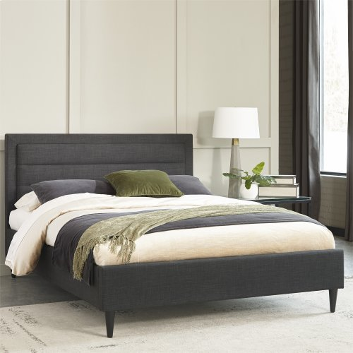Padua Complete Upholstered Bed and Bedding Support System with Headboard Channel Tufting, Carbon Slate Finish, Queen