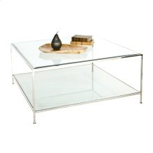 Nickel Plated Square Coffee Table With Beveled Glass Tops.