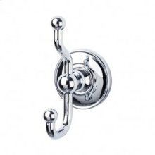 Edwardian Bath Double Hook Plain Backplate - Polished Chrome