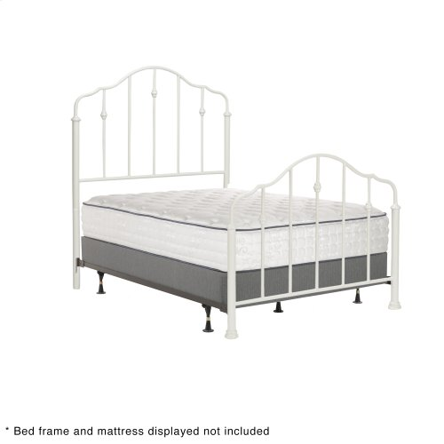 Lorna Fashion Kids Metal Headboard and Footboard Bed Panels with Delicate Arches and Accented Spindles, Warm White Finish, Full