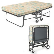 "Rollaway 1290P Folding Cot and 30"" Fiber Mattress with Angle Steel Frame and Poly Deck Sleeping Surface, 29"" x 75"""