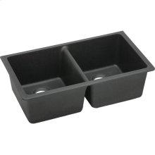 "Elkay Quartz Classic 33"" x 18-1/2"" x 9-1/2"", Equal Double Bowl Undermount Sink, Black"
