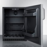 Summit Built-in Undercounter ADA Compliant All-refrigerator With Wrapped Stainless Steel Exterior, Towel Bar Handle, Door Storage, and Digital Controls