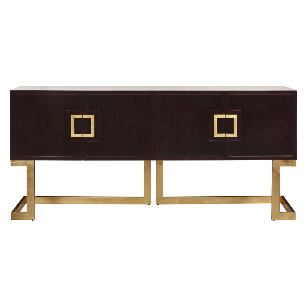 Rosewood Media Console With Gold Leaf Base & Square Handles