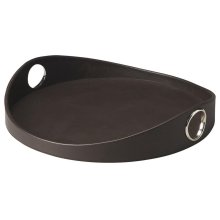 The wonderful roller coaster border ensures this Serving Tray is as fashionable as it is functional. Impeccably upholstered in richly textured, brown leather with gleaming chrome rings for handles.