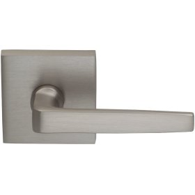 Interior Modern Lever Latchset with Square Rose in (US15 Satin Nickel Plated, Lacquered)