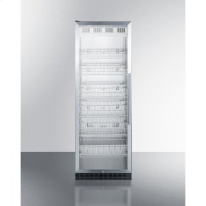 SummitFull-size Commercial Beverage Center With Stainless Steel Interior, Self-closing Glass Door, Self-closing Glass Door With A Left Hand Swing, and Stainless Steel Wrapped Cabinet