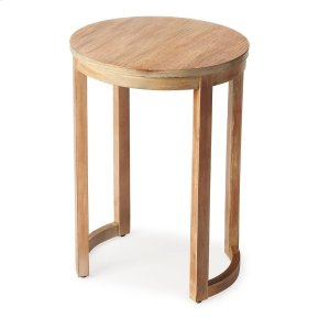 This petite round side table is a great addition to any small space. Crafted from poplar solids and wood products with a birch veneer top, it has a modern design aesthetic with rounded leg supports and a distressed Driftwood finish.