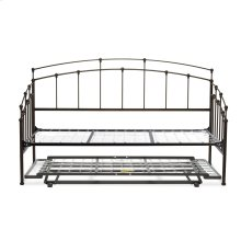 Fenton Complete Metal Daybed with Link Spring Support Frame and Pop-Up Trundle Bed, Black Walnut Finish, Twin