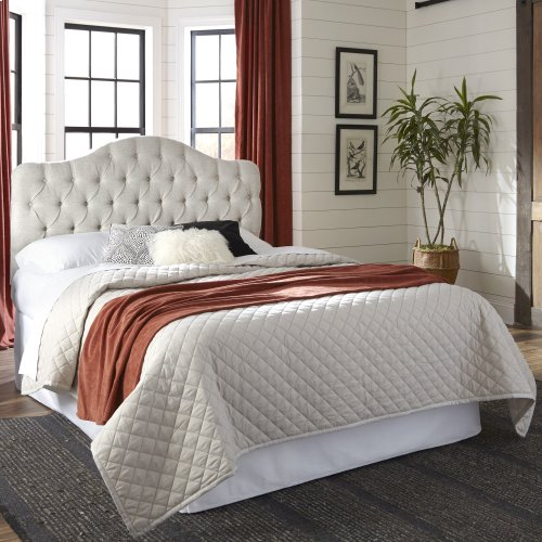 Florissant Button-Tuft Upholstered Headboard with Adjustable Height, Platinum Finish, Full / Queen