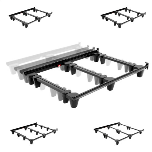 Presto Universal Sized Folding Bed Frame with Headboard Brackets, Charcoal