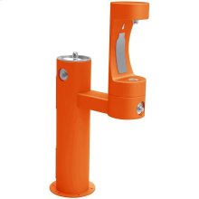 Elkay Outdoor ezH2O Bottle Filling Station Bi-Level Pedestal, Non-Filtered Non-Refrigerated Freeze Resistant Orange
