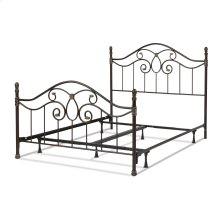 Evanston Complete Metal Bed and Steel Support Frame with Camelback Arches and Soft Gold Highlighted Castings, Blackened Copper Finish, Queen