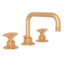 Satin Gold Graceline U-Spout Widespread Lavatory Faucet with Metal Dial Handle Graceline Series Only