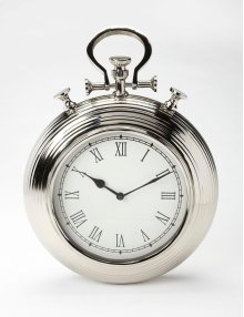 This steel and aluminum wall clock's design is reminiscent of a traditional pocket watch. The Roman numeral numbers are easily legible from any distance. This piece may be transitional, but its traditional design blends well with any number of decors.