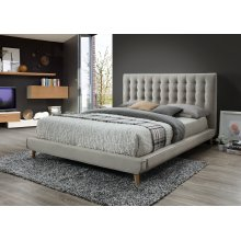 Newport Taupe Tufted Upholstered Queen Bed
