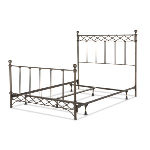Fashion Bed GroupArgyle Complete Metal Bed and Steel Support Frame with Diamond Pattern Top Rail and Double Spindle Castings, Copper Chrome Finish, Full