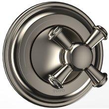 Vivian Two-Way Diverter Trim - Cross Handle - Brushed Nickel