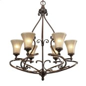 Loretto 6 Light Chandelier in Russet Bronze with Riffled Tannin Glass