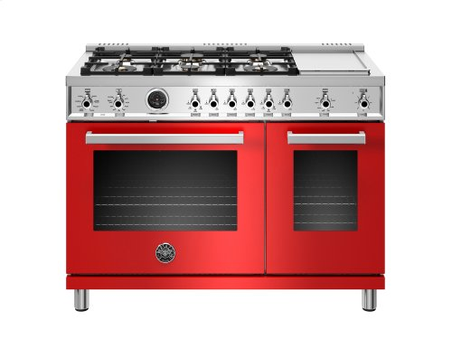 48 inch Dual Fuel Range, 6 Brass Burners and Griddle , Electric Self Clean Oven Red