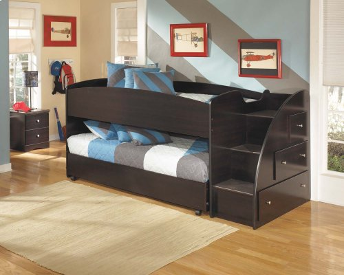 Twin Youth Loft Bed Package with Left Storage Steps