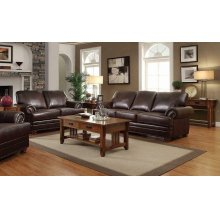 Colton Brown Leather Two-piece Living Room Set