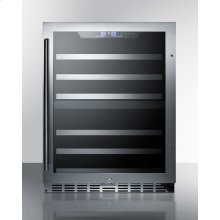 Dual Zone 44-bottle Built-in Wine Cellar With Seamless Ss Trimmed Glass Door, Full Extension Shelves, Digital Thermostat, and Stainless Steel Wrapped Cabinet