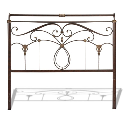 Lucinda Metal Headboard Panel with Intricate Scrollwork and Sleigh-Styled Top Rail, Marbled Russet Finish, California King