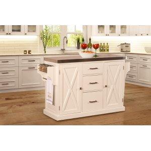 Hillsdale FurnitureBrigham Kitchen Island In White With Stainless Steel Top