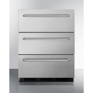 Summit Three-Drawer Commercial Outdoor All-Refrigerator In Ada Compliant Height, Fully Stainless Steel With Automatic Defrost And Towel Bar Handles