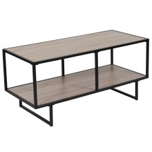 Sonoma Oak Wood Grain Finish TV Stand with Black Metal Frame