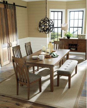 RECT DRM Butterfly EXT Table with 6 Side Chairs