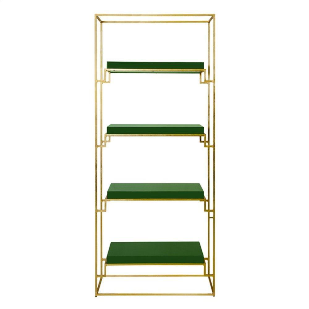 Gold Leaf Etagere With Green Lacquer Shelves