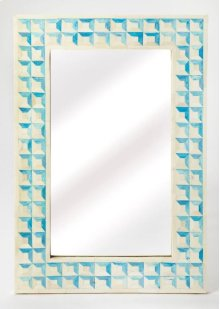 Beautify any space ™ be it a bedroom, living room, or entryway ™ with this elegant wall mirror. Crafted from resin and wood products, it features individually hand-cut bone inlays arranged in a repeating square pattern with blue-dyed sections resembling h