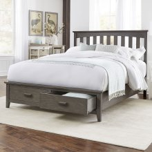 Hampton Storage Bed with Solid Wood Frame and and (2) Footboard Drawers, Queen