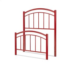 Rylan Fashion Kids Metal Headboard and Footboard Bed Panels with Gently Arced Top Rails and Vertical Spindles, Tomato Red Finish, Twin