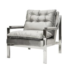Nickel Arm Chair W. Grey Velvet Cushions Seat Height 20""