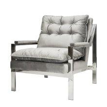 "Nickel Arm Chair W. Grey Velvet Cushions Seat Height 20"""