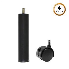 "5"" Black Metric Thread Cylinder Leg w/ Push-In Rug Roller Caster, 4-Pack"
